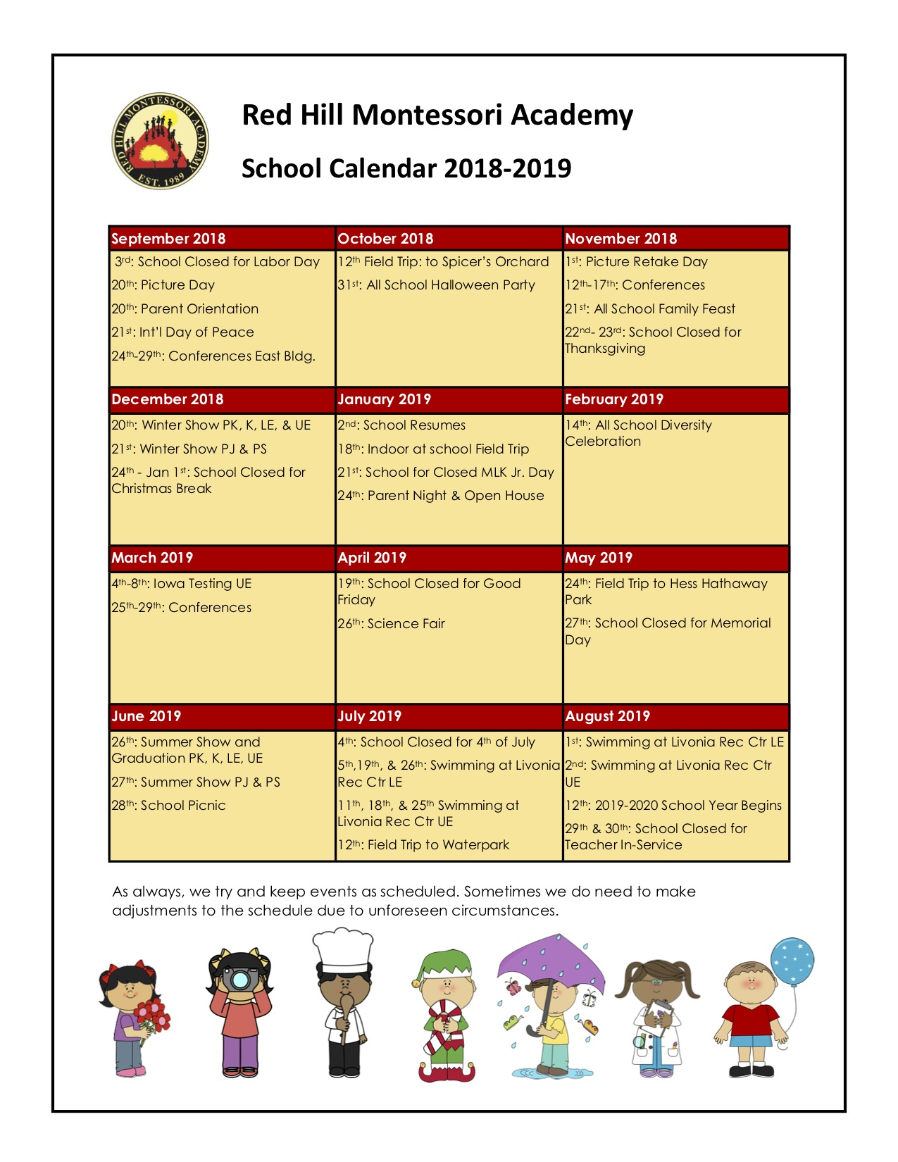 2018-2019 School Calendar 08142018
